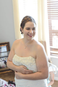 Sarah Harrington getting dressed for her wedding in Central Florida.
